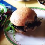 Lunch at the Beach Hut - Portobello Burgers with White Stilton andAromatic Rice Salad