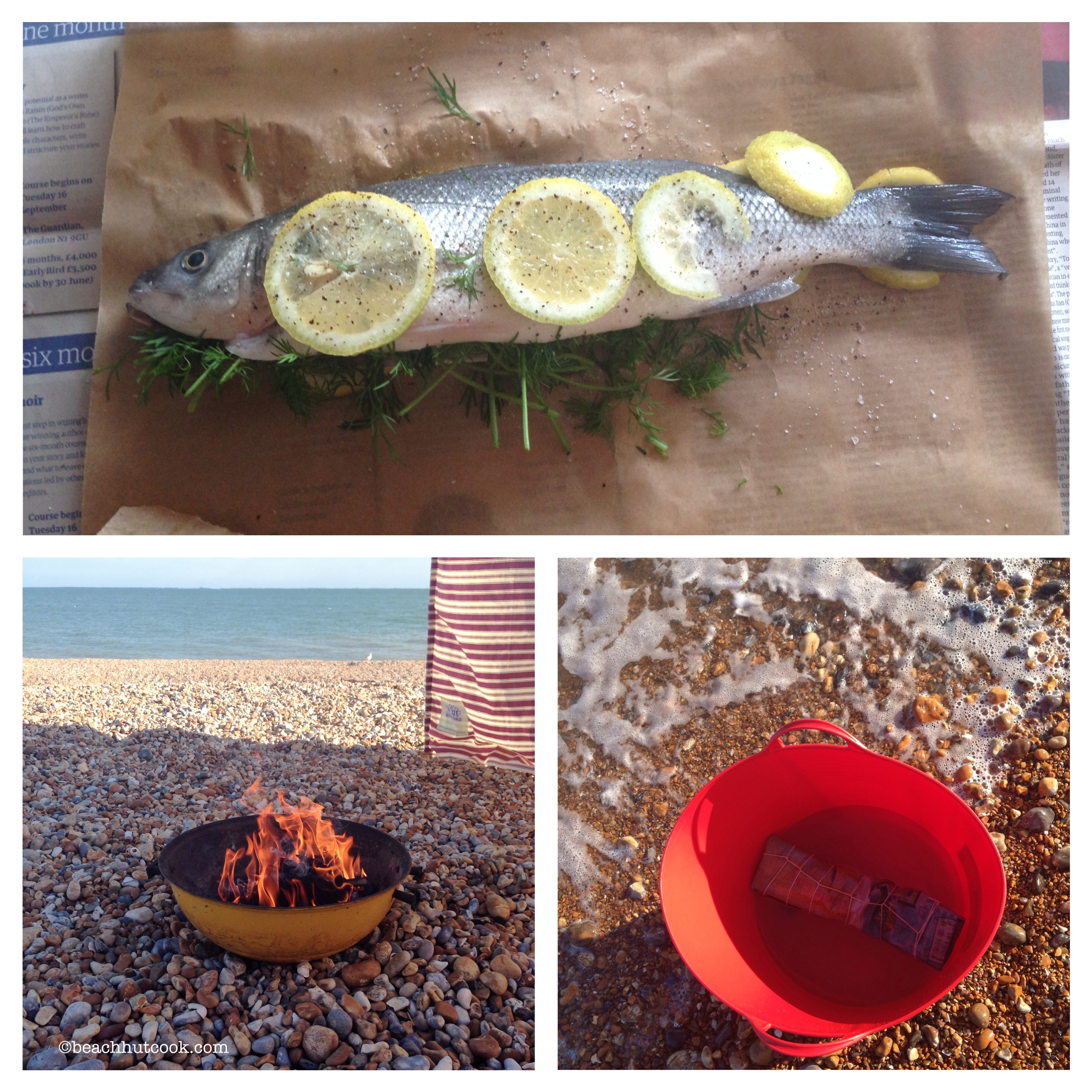 Beachhutcook Cooking Fish in Newspaper on the Beach