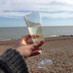 Beachhutcook's Rose Vermouth Sparkle Cocktail on the beach