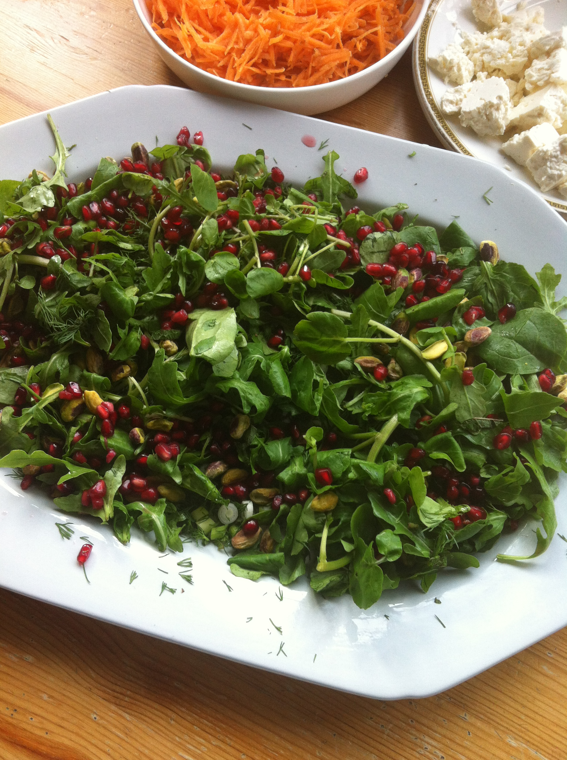 Moroccan Leaf Salad with Pomegranate and Pistachios by Beachhutcook