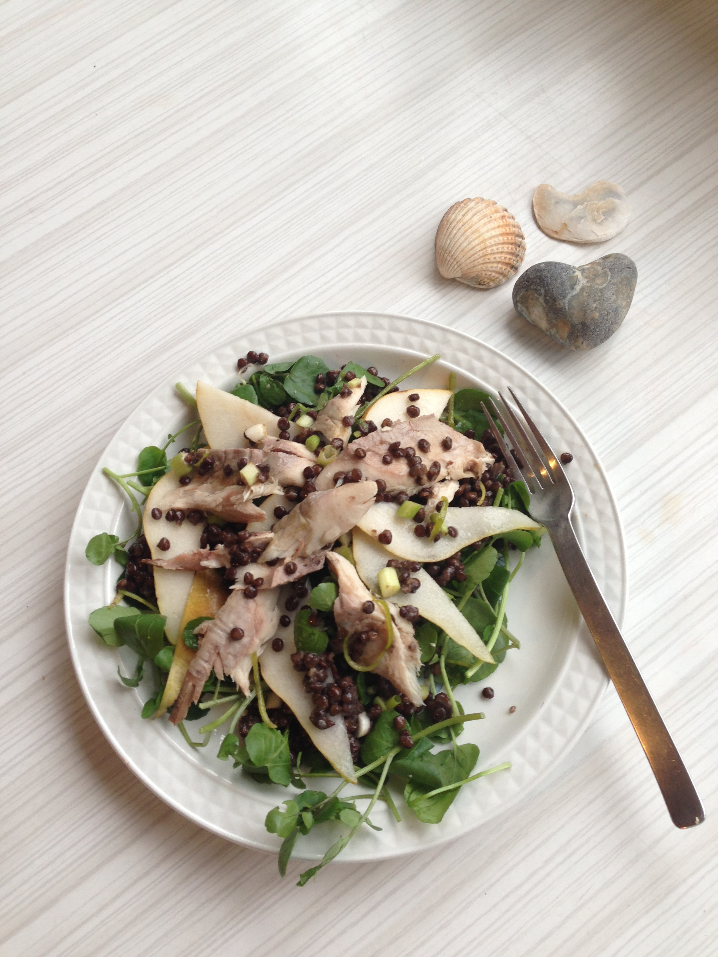 Autumn Salad - Zingy Lime, Mackerel, Pear and Lentil