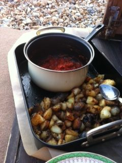 Patatas Bravas cooked at the beach hut