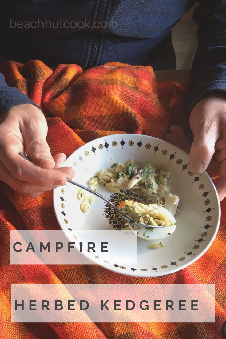 Beachhutcook's Cooking on Campfire. Herbed Kedgeree with Tilda Rice