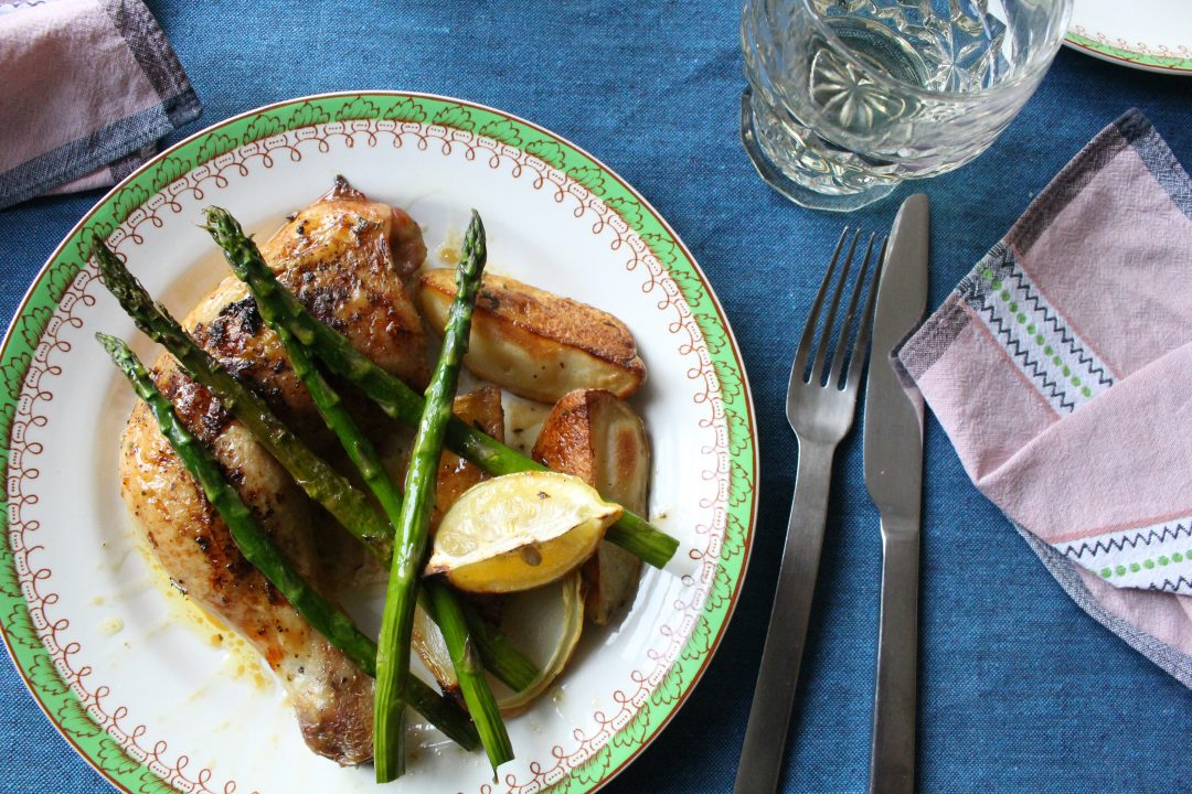 Thyme Roasted Chicken with Herby Potatoes and Asparagus