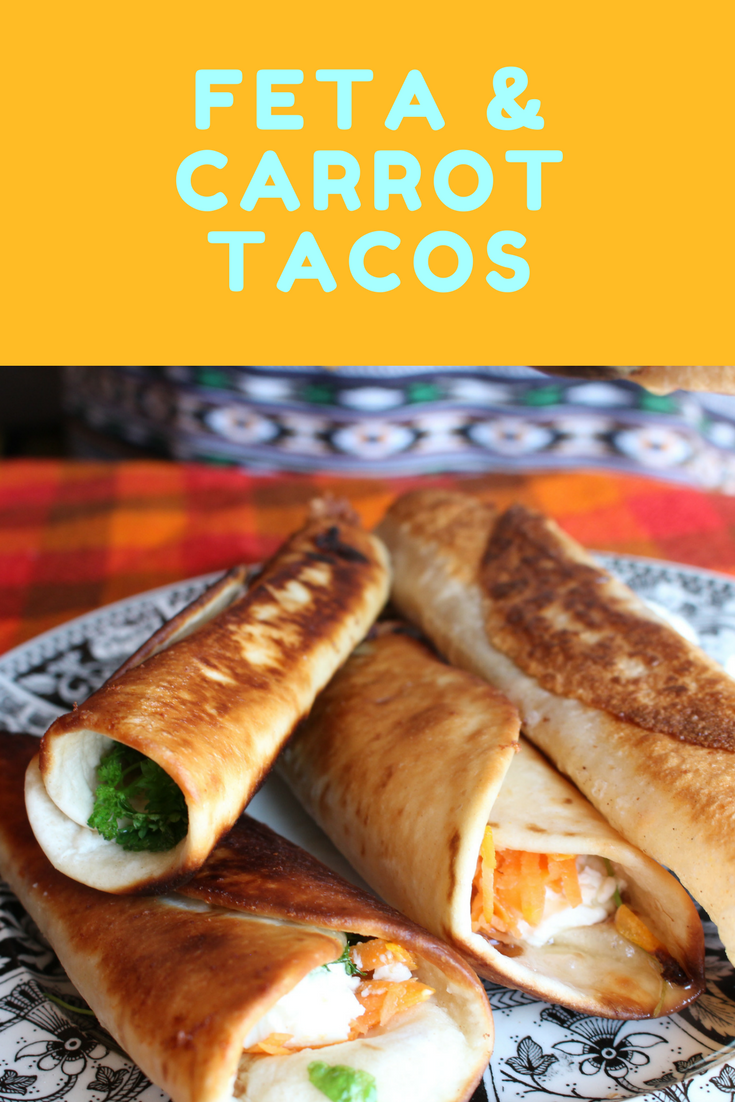 Crispy Carrot and Feta Tacos laced with lime juice rolled up and fried until crispy. Serve with a sour cream and chive dip. Perfect street food to have when camping