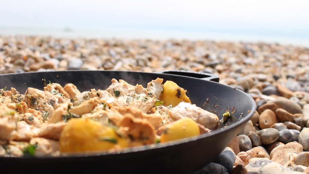 Cooking on the beach moroccan chicken flatbreads beachhutcook forumfinder