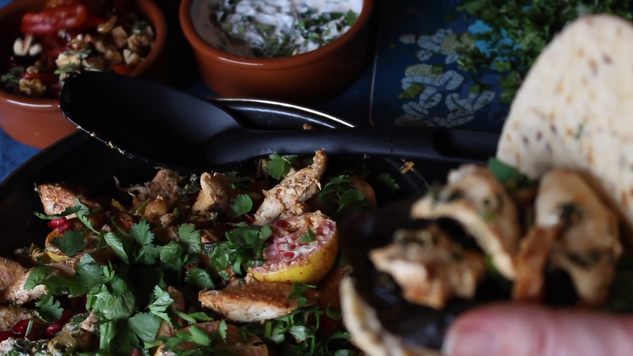 Moroccan Chicken Flatbreads cooked on the beach. Perfect party food with delicious toppings of Roasted Red Pepper Salad and a Citrus Garlic Yoghurt Dip