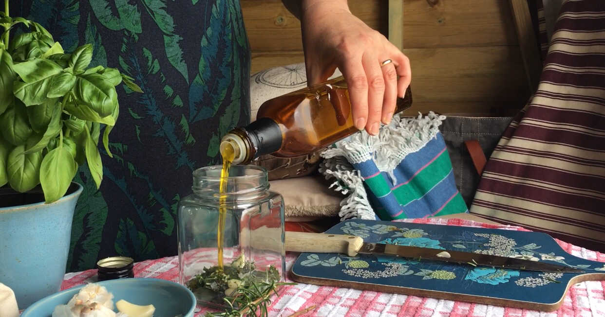 A herb oil made from basil, rosemary, sea salt and infused with garlic and ready to use immediately