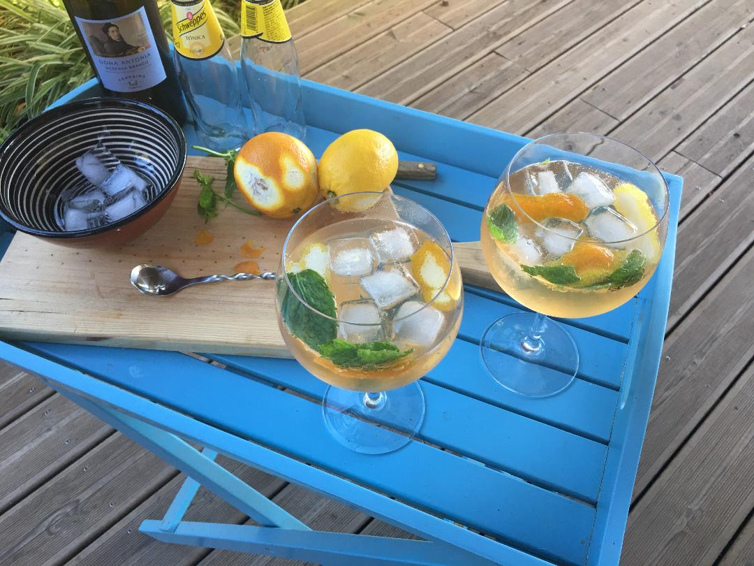 White port and tonic water. A refreshing aromatic drink with lemon and orange peel and mint leaves. Portugal's answer to a Gin and Tonic.