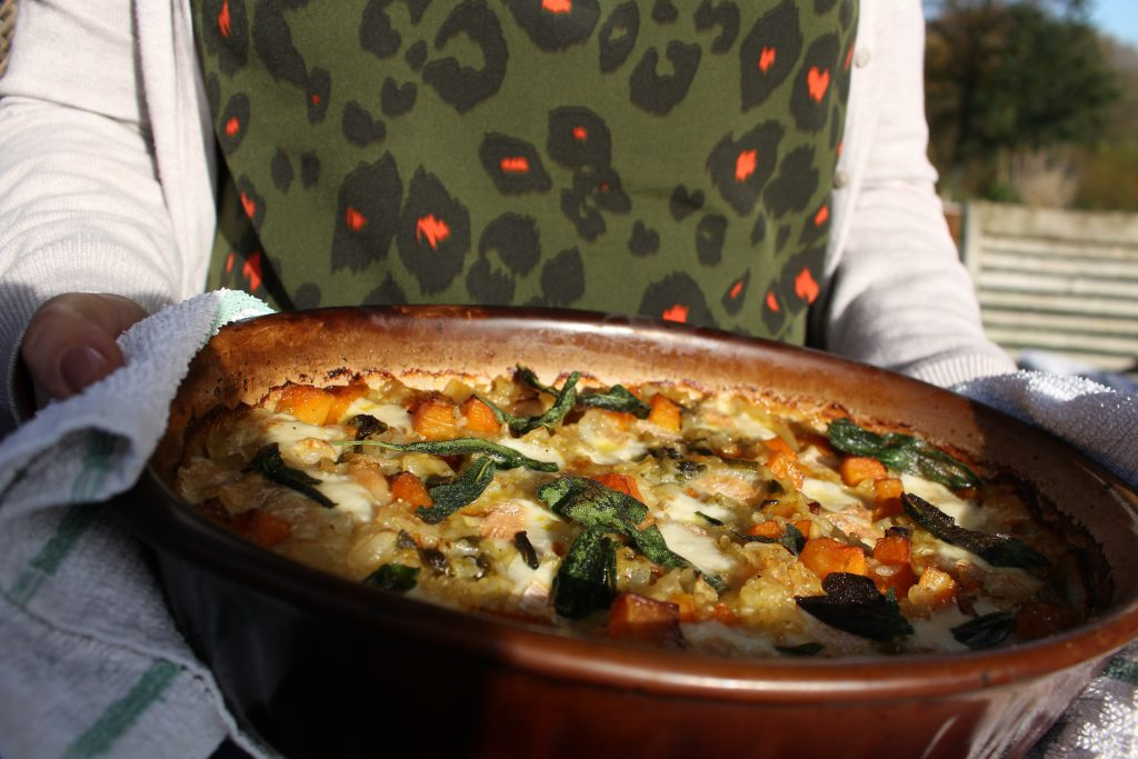 Butternut Squash and rich Taleggio cheese baked risotto takes all the hassle of traditionally made risottos and allows you to enjoy lazy times, no stiring to watching.
