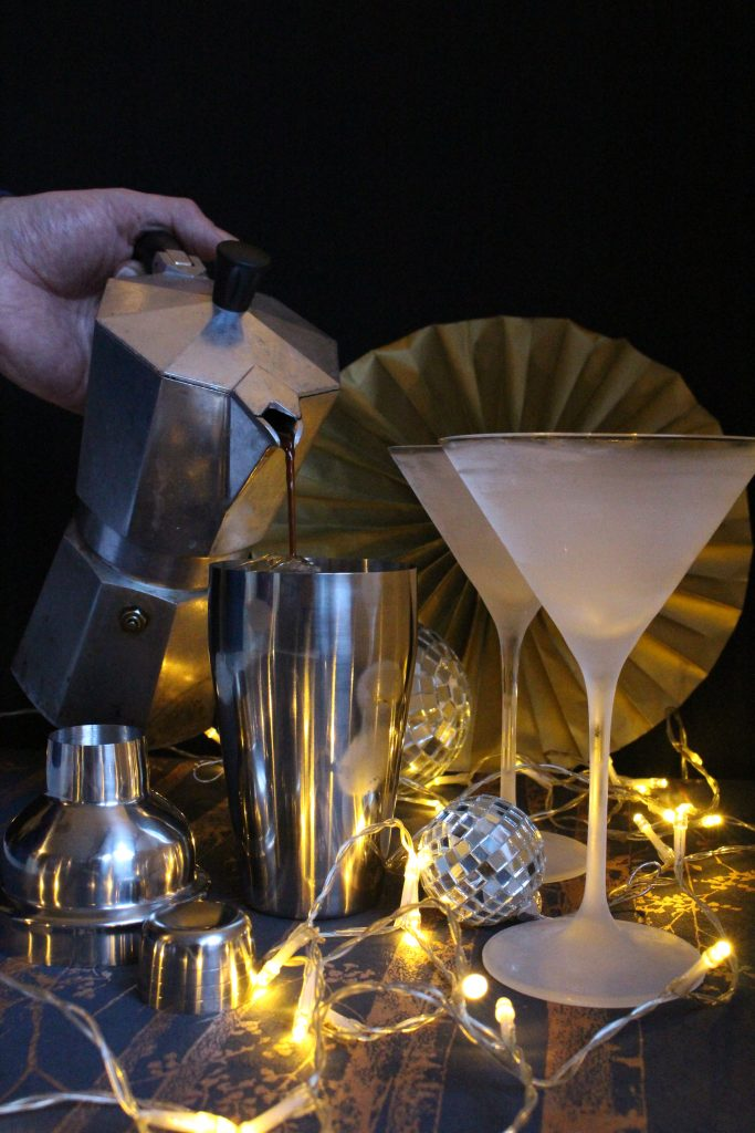 This version of an Espresso Martini cocktail is made with spiced coffee flavoured espresso, vodka, coffee liqueur, and maple syrup to give you that pick me up needed when your dancing feet begin to tire.