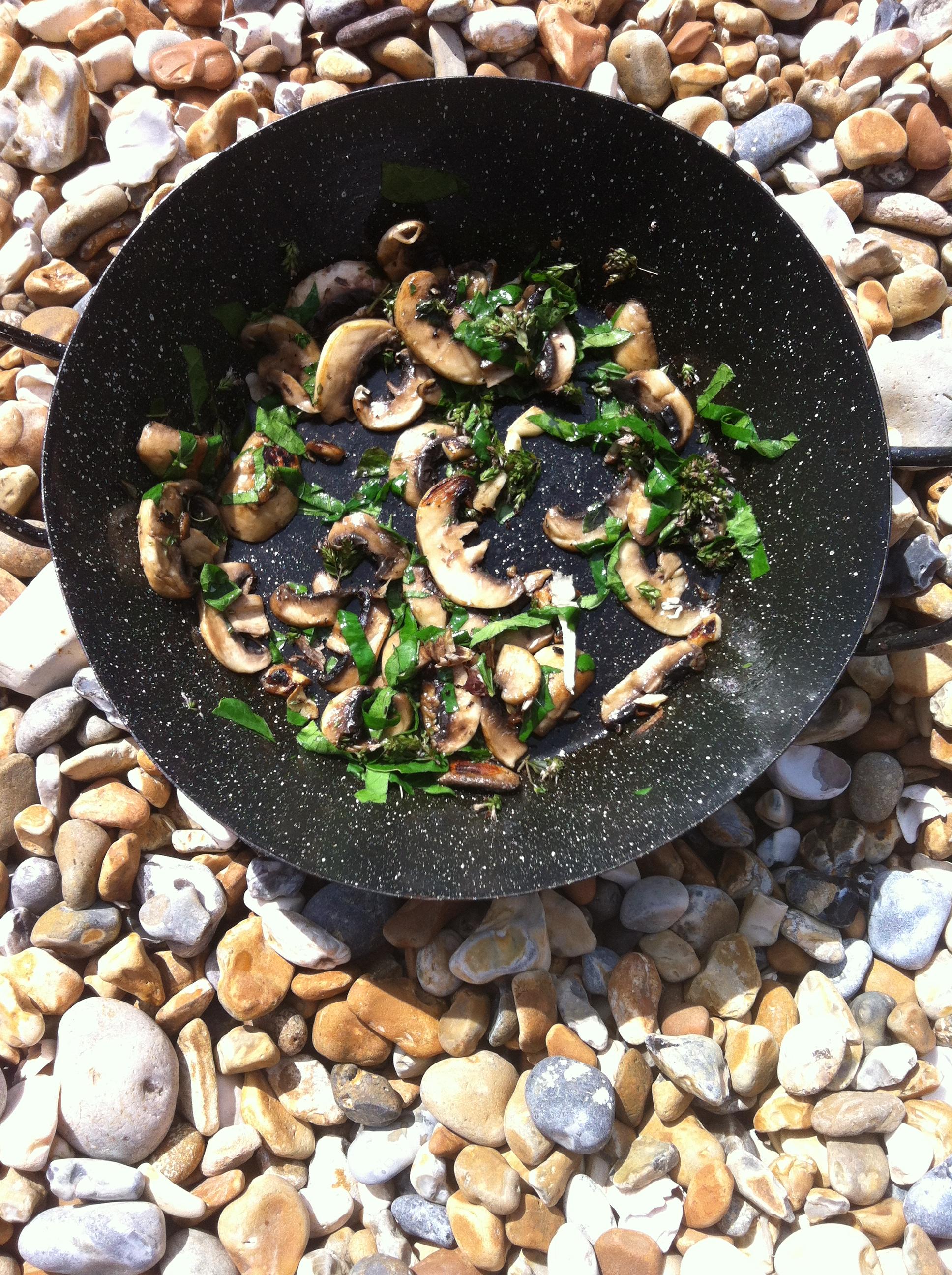 Beachhutcook's Mushroom and Nasturtium Leaves on Toast