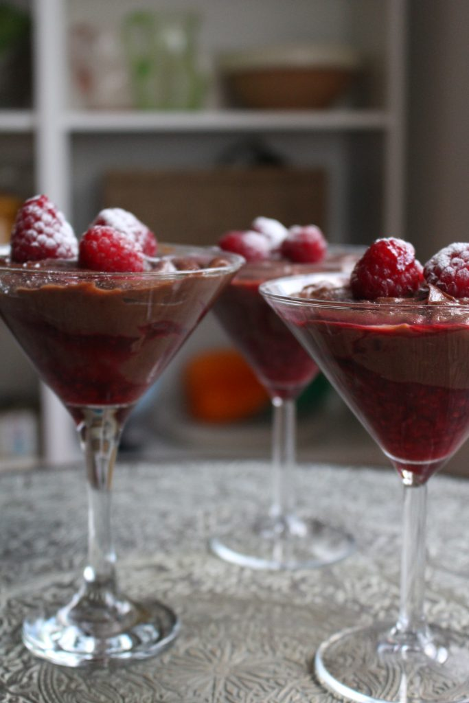 Chestnut and Chocolate mousse with raspberry sauce. Wonderfully rich and decadent.