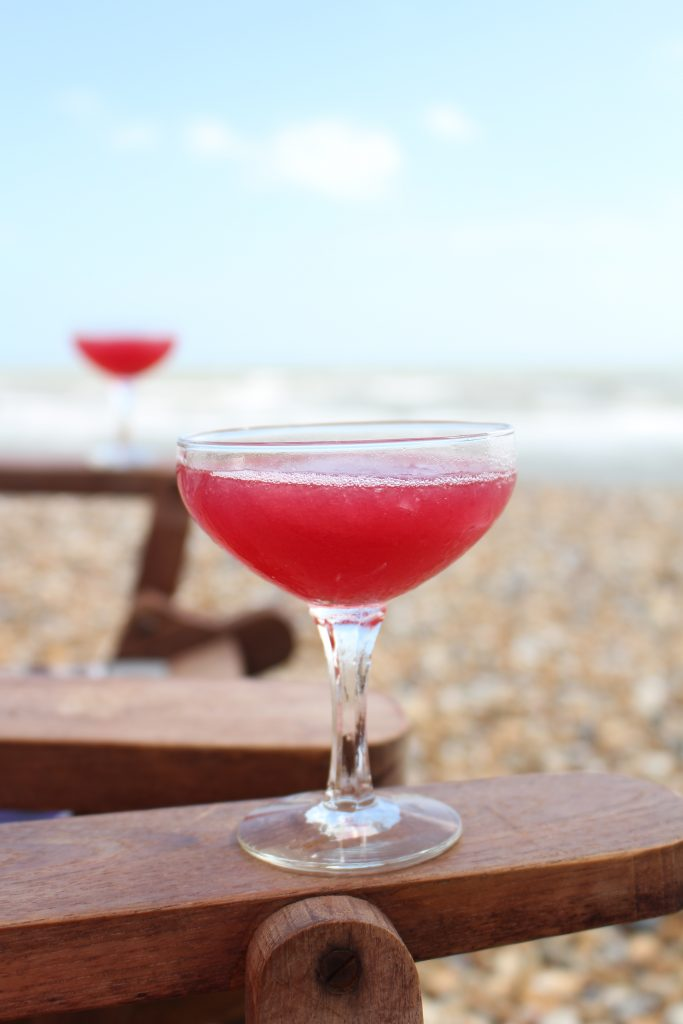 How to make a Frose - frozen rosé wine blended with teapigs Super Fruits tea, lemon juice and sweet vermouth to make a refreshing summer cocktail - Beach Hut Cook